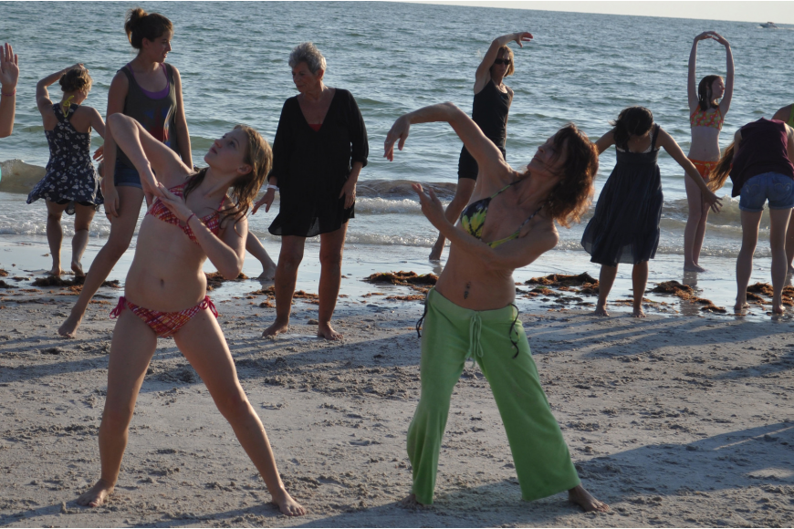 Emerald Eldridge and Lynn Hocker participated in the third annual summer flash mob June 30 on Lido Key Beach.