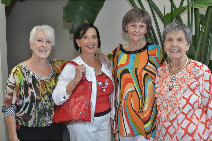 Lynn Woo, Pat Maxson, Beverly Henry and Marge Stapleton model Dillards sportswear.