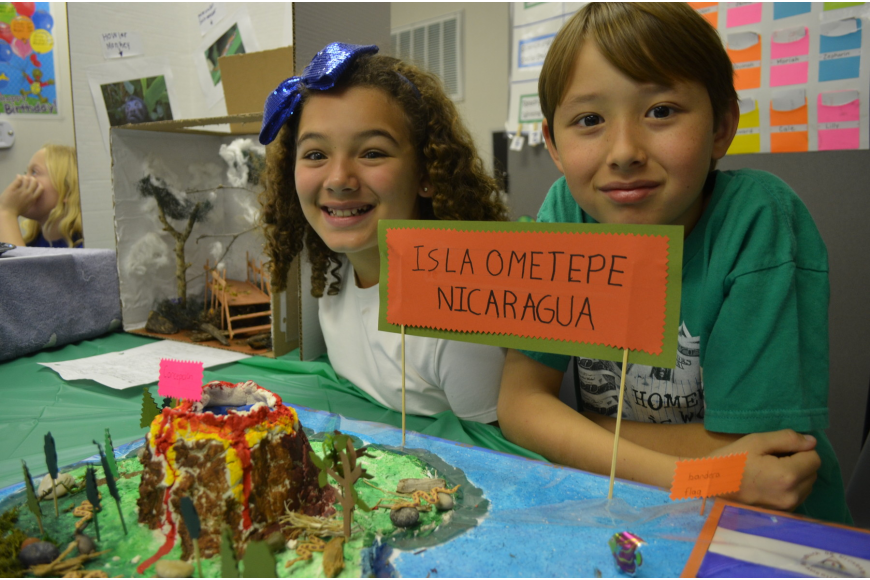 Lillian Piper, 9, and Galvan Smith, 8, researched Nicaragua to make their projects.