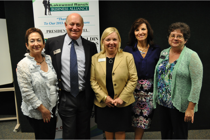 Barbara Zdziarski and Ray Reker of the Lakewood Ranch Business Alliance, Erin McLeod, Violeta Huesman of Keiser University and Sherie Becker, organizer for the Lakewood Ranch Business Alliance