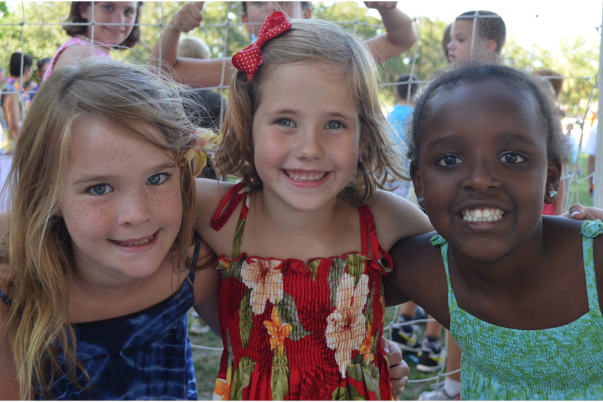 Second graders Kate N., Samantha F. and Mili K.