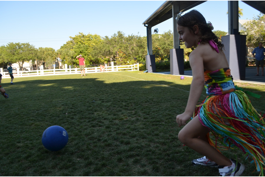 Roxy G. gets ready to kick the ball during a second grade game of kickball.
