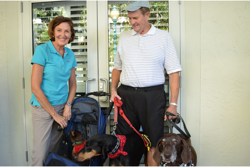 Sharon and Velma Keen brought their cat Shaka Zulu, Doberman pinscher Tally and German shorthair pointer Remington to the Blessing of the Animals.