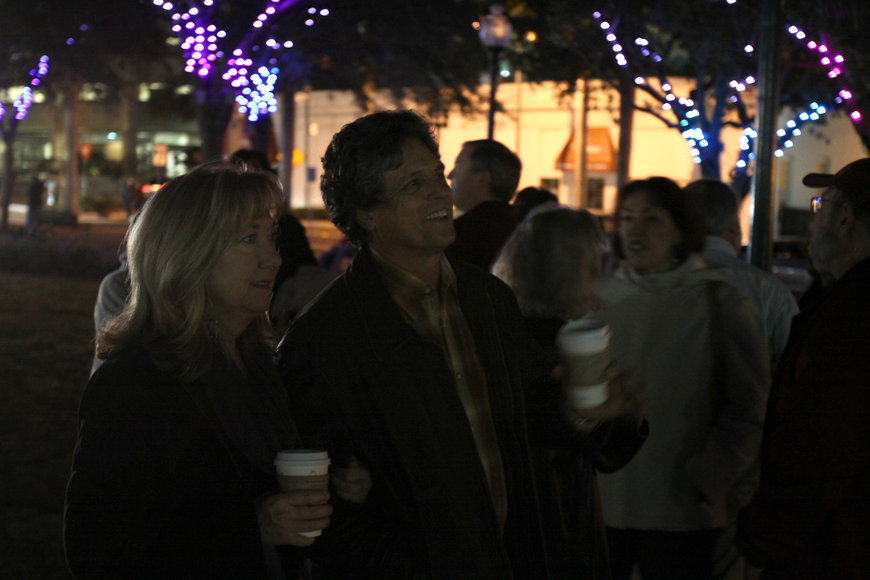 Donna and Paul Rutledge take in the light display at Five Points Selby Park Friday evening.