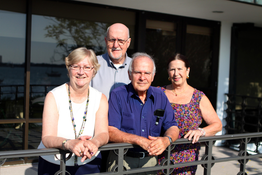 Jean Etsinger, event chair, William Hull, president of Family Promises, David S. Howard, of the Asolo Rep and one of the judges, and Sally Reeder, co-chair and secretary for Family Promises, poses outside of Selby Garden's Great Room by the Bay.
