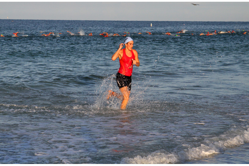 Tarin Forbes was one of the first women in her division to complete the swimming portion of the triathlon.
