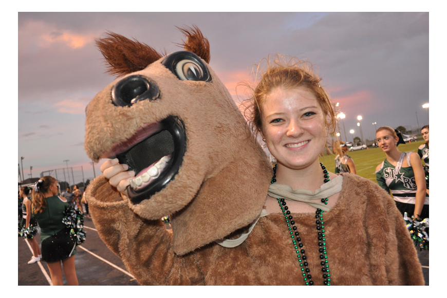 Kasey Blanco brought the Mustangs' mascot, Klumpy, to life.