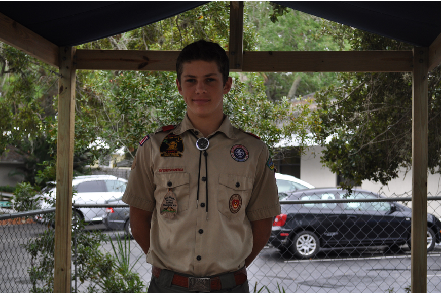 Noah Taylor stands in the theatre he constructed for his Eagle Scout project.