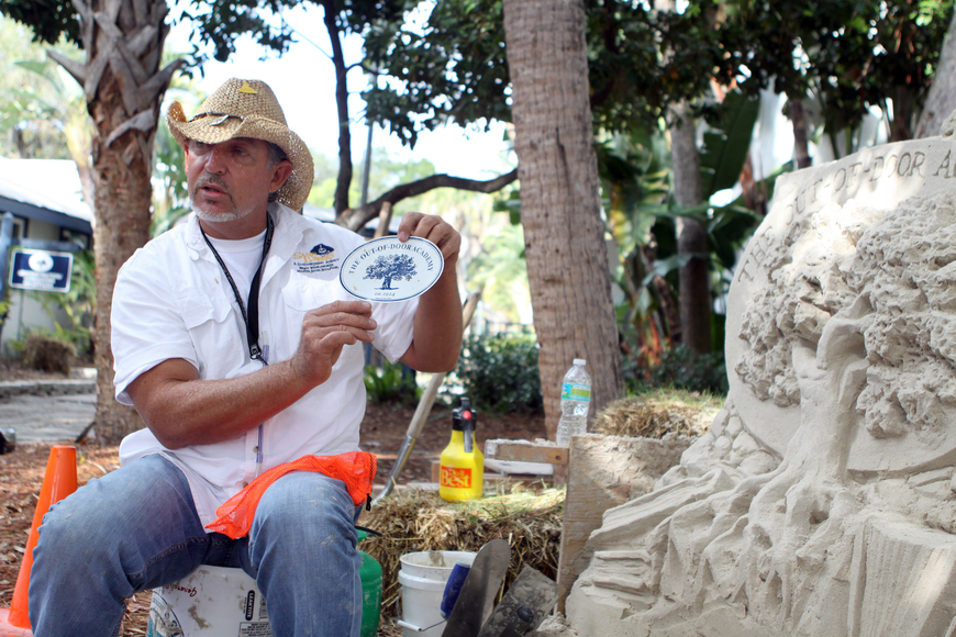 Brian Wigelsworth explains how he modeled his sand sculpture off of a magnet with the ODA logo.