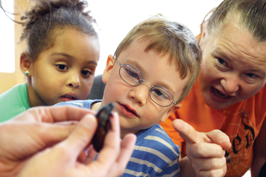 Franki Magnotti, Chance McArtor and Miss Kat enjoyed a close-up look at a Madagascar hissing cockroach, during a G.WIZ presentation at the St. Boniface Preschool.