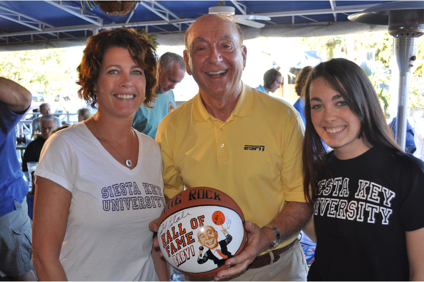 Dick Vitale poses with JoEllen and Brooke Mettille. The Mettilles own Siesta Key University on Ocean Blvd.