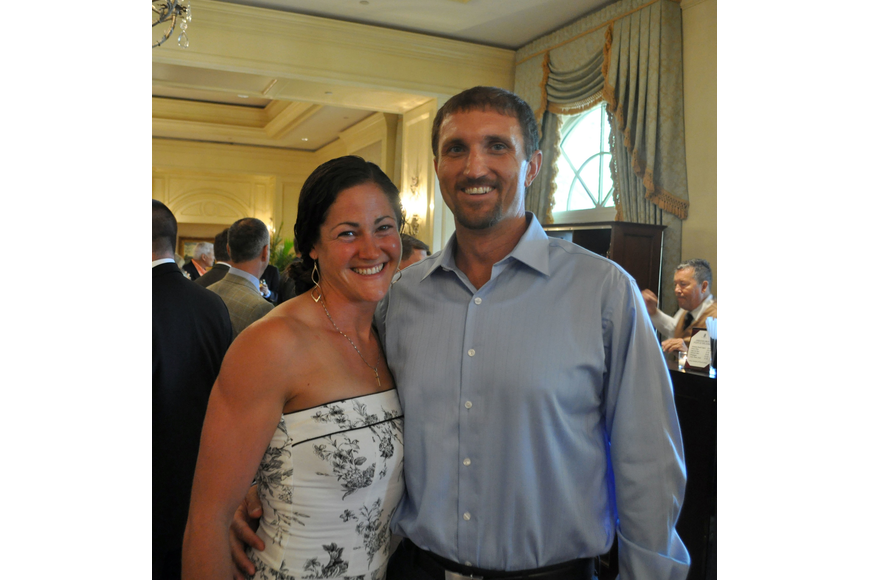 2008 Olympian Jen Goldsack and freshman boys' coach Andy Berster