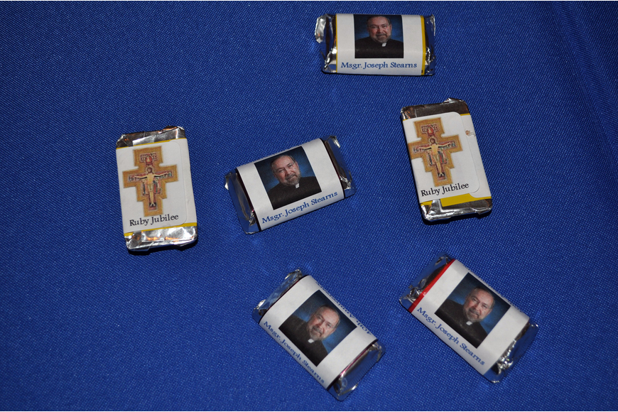 Hershey's chocolates wrapped in specially made wrappers for Msgr. Joseph Stearns' 40th anniversary.