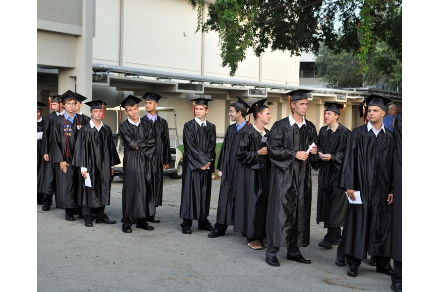 Students wait in line before the ceremony.