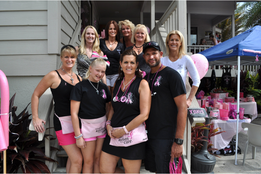 Team Believe members, in the back row, Lynne Renfroe, Gina Damico, Barbara Ruginski, Tina Burks and Cathy Bruce. In the front, Karen Johnson, Madison Johnson, Michelle Kerrigan and Cesar Rico.