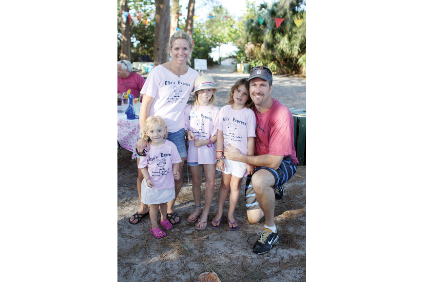 Meghan and Kevin Wicks with their daughters, Lily, 2, Ella, 7, and Luci, 6 laced up for the ninth annual Great Strides Walk for cystic fibrosis May 5, at Siesta Key Public Beach. Ella has cystic fibrosis.
