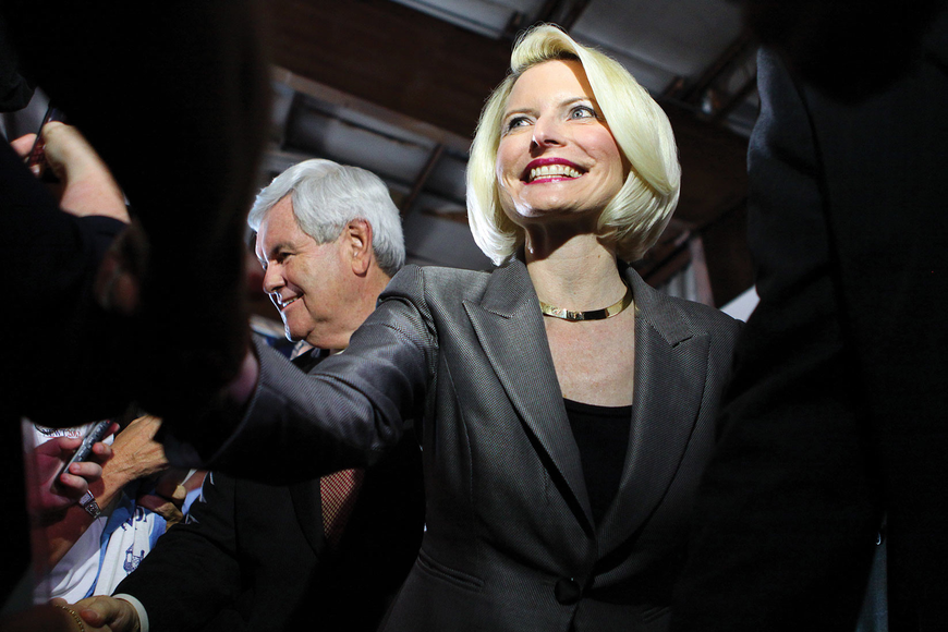Callista Gingrich wore a big smile as she shook supporters' hands.