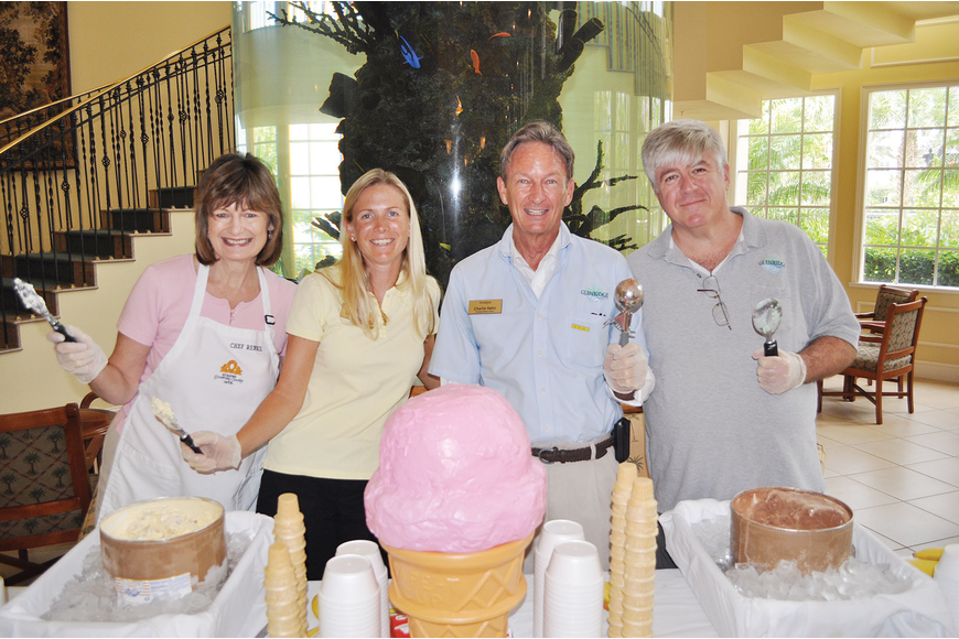 Rennie Carter, Laura Manning, Charlie Hahn and Ben Turoff scooped out bowls of choco- late, vanilla, butter-pecan or mint-chocolate-chip ice cream at the Glenridge's 5th annual ice cream social.