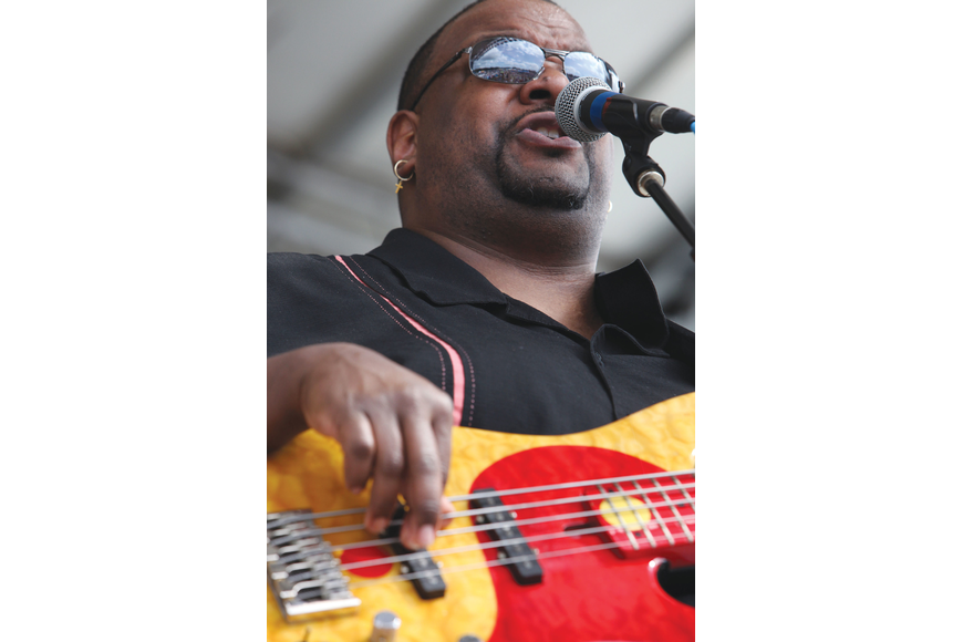 Tracy Arrington plays a five-string bass as part of Curtis Salgado's band at the 22nd annual Sarasota Blues and Music Festival.