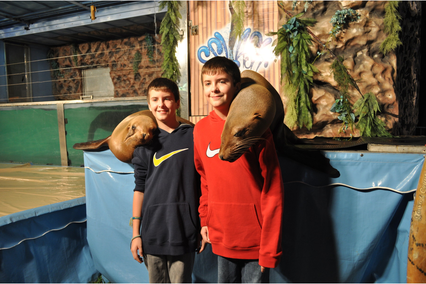 Dylan and Dakota McNally made sure to get their photo taken with the sea lions.