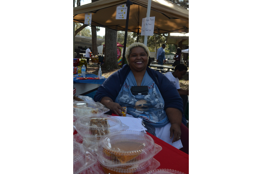 Maria Baker sells sweet potato pie, bread pudding, fried fish and other foods with NJ's Sinfully Delicious Food.