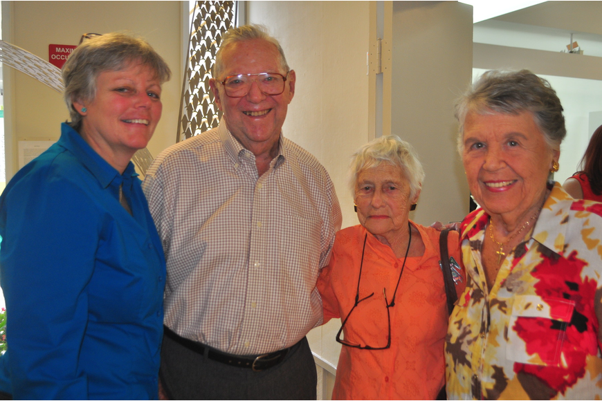 Dora Walters with Longboat Observer founders, Janet Hunter, far left, and Ralph and Claire Hunter