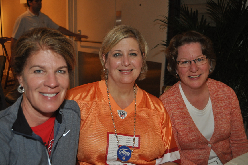 Julie Skinner, Debbie Thomas and Deb Larson at the Longboat Key Club Super Bowl party.