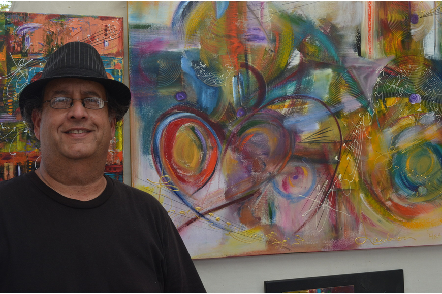 Jeff Laibson hs been painting for 40 years. When he paints one of his contemporary music related pieces he writes a song as well. He was once a jazz professor.
