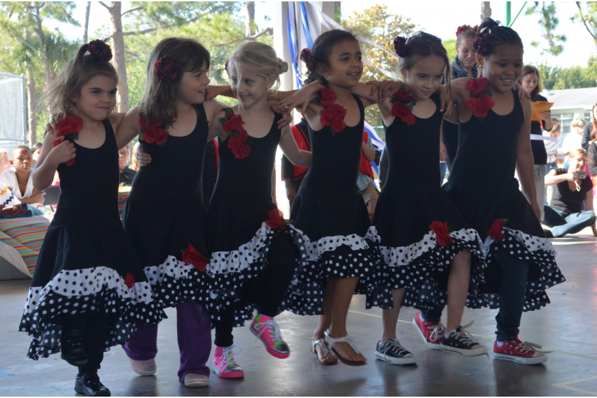 Kindergartners performed the flamenco for parents and students.