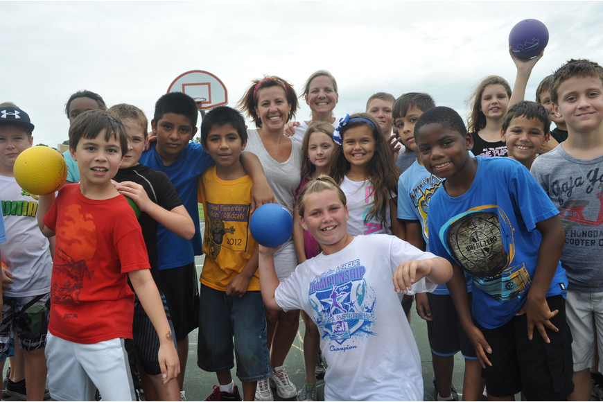 Martha Nieves' and Amy Holland's fourth grade students celebrated their FCAT writing scores with a game of dodgeball.