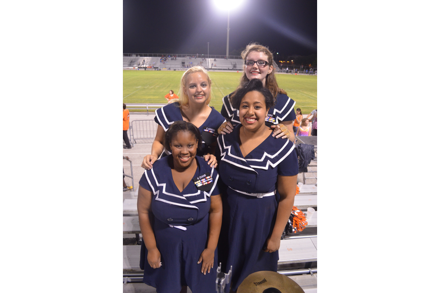 Color Guard members and seniors Kamika Evans, Kianna Andrews, Ladestenee Orser and Lacey Landers