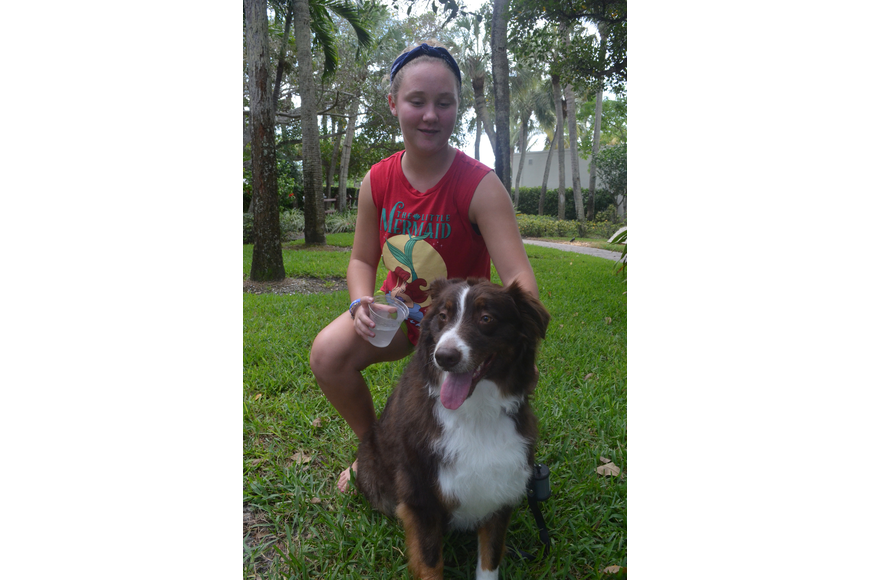 Mary Bernthal, 12, and her 3-year old Australian Shepherd Jack
