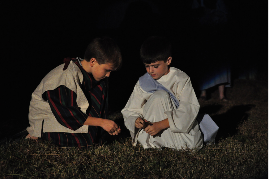 Mason Montgomery and CJ Urban portray a friend and Jesus as children.
