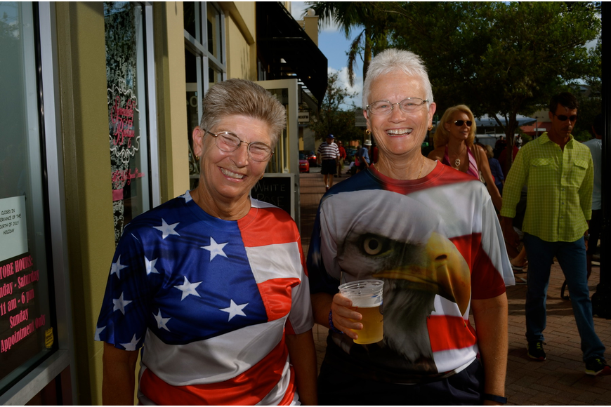Dawn Thornton and Judy Moore sport patriotic T-shirts.