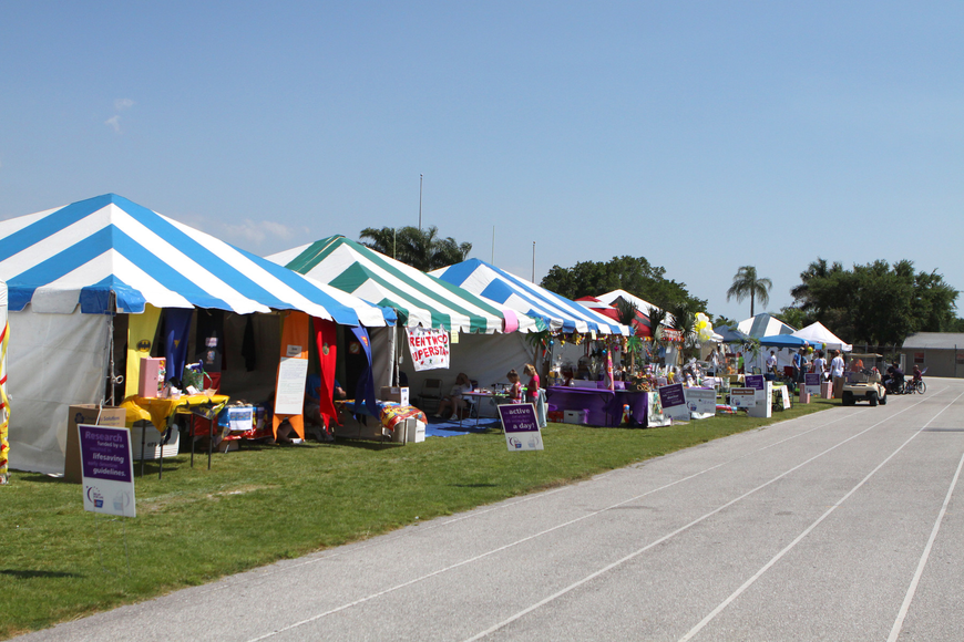 Some of the tents set up for the 2011 Relay for Life on Saturday, April 9 at Sarasota High School.