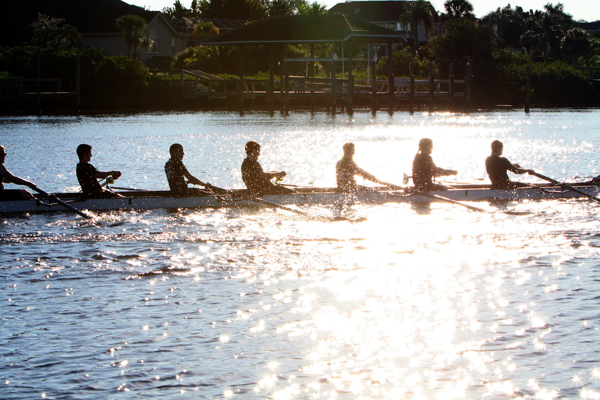 Competitors row during the Sarasota 5000 Sunday, Oct. 2 out at Blackburn Point Park.