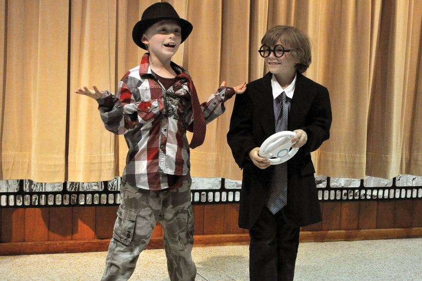 Colon Stroble, as Sir Mojo, and Caspian Campaigne, as Sir Smarty Pants, made the audience laugh in June during the Drama Kids Playhouse theater camp show day at the First Congregational United Church of Christ.