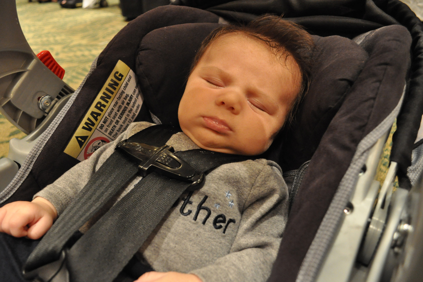 At 7 weeks old, John Motzenbecker was, perhaps, the evening's youngest attendee.