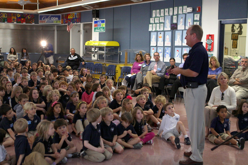 Dan Strzempka talks to the students at Out-of-Door Academy, Friday, Jan. 20, inside the cafeteria.