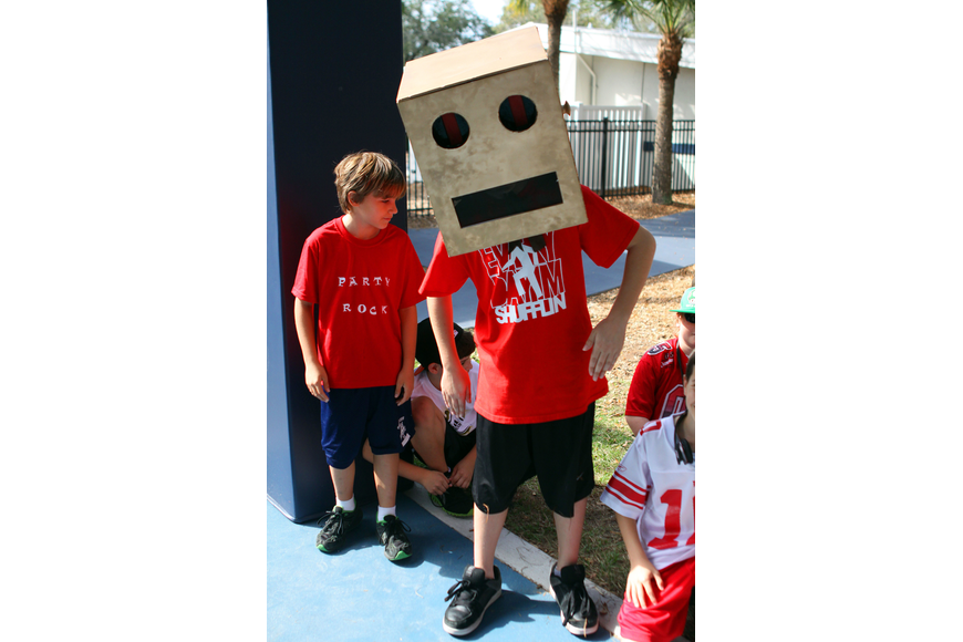 Ryan Ives, 10, dressed as a robot for the Jump Rope for Heart event, Friday, Feb. 10 at Out-of-Door Academy.