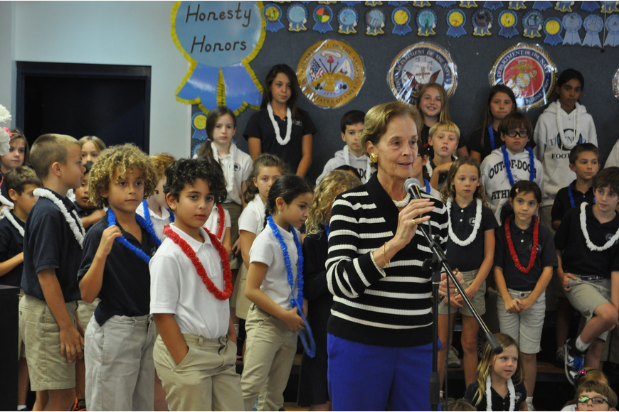 Head of Lower School Wendy Pearre addresses students.