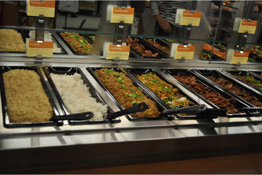 The new store offers a hot bar, along with a salad bar. Items are priced at $7.99 per pound.