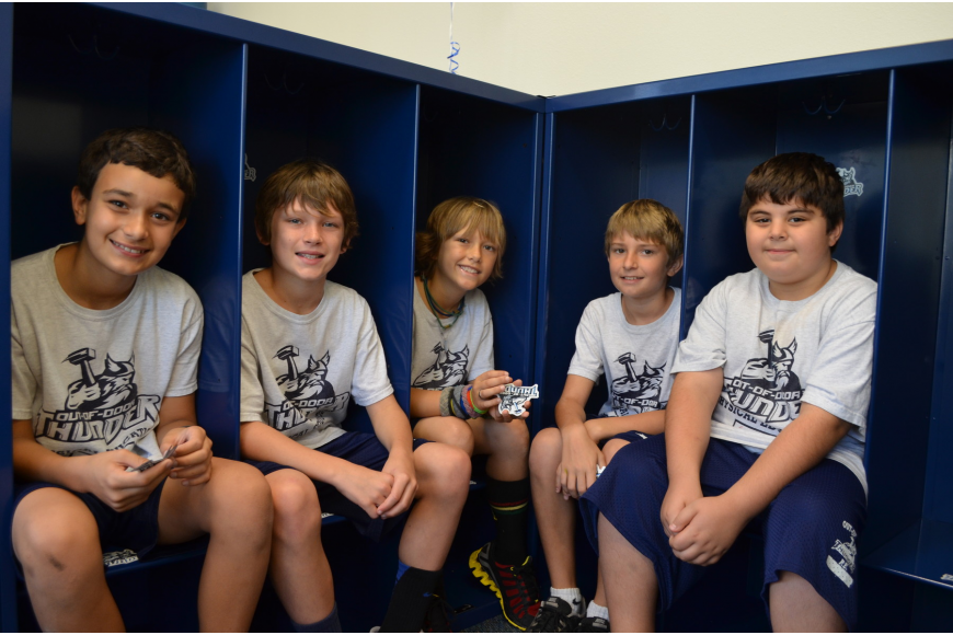 Grant Nassey, Tyler O'Donoghua, Phineas Scanlan, Nathan Radovich and Mallick Sholi check out the new lockers at the boys changing station.