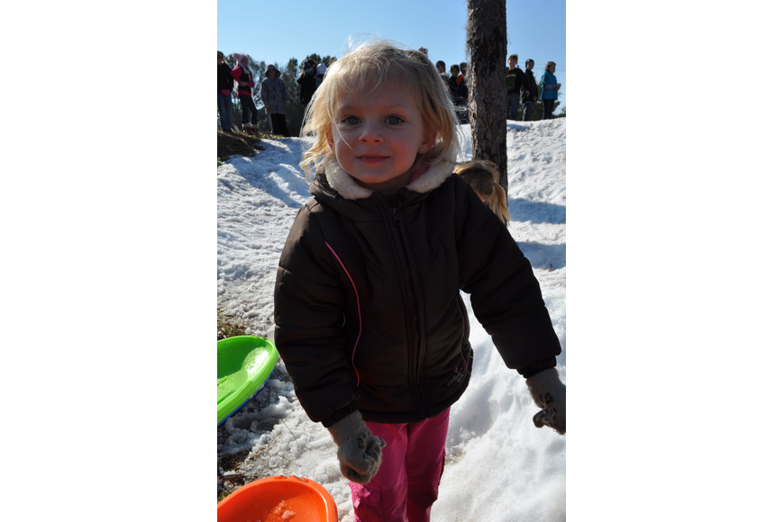 Rebekah Block, 4, threw snowballs at anyone who was nearby.