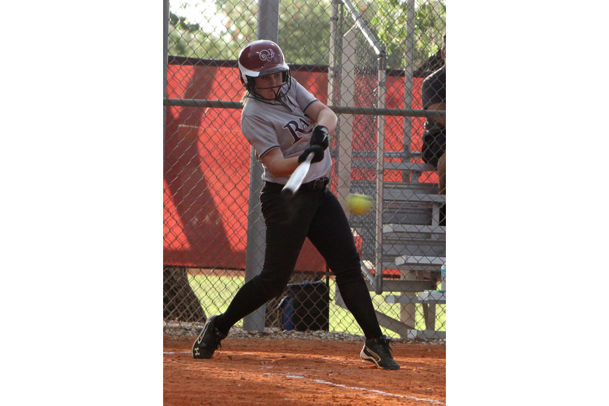 Riverview's Deanna Stevens, 10, goes to hit the ball.