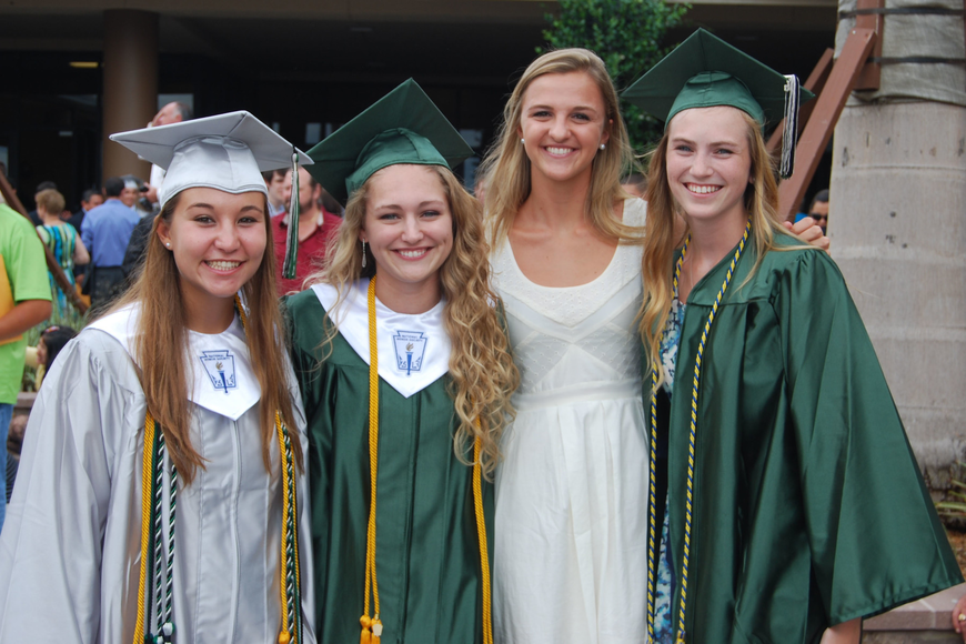 Graduates Emily Lacina, Maddy Keslar and Emily Edwards, right, are pictured with friend, Shannon McCarthy, in white.