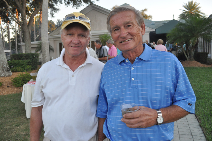 Mike Spellman and Larry Bunch enjoy Rosedale's challenging golf course.