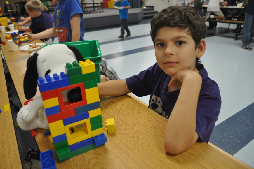 Max Piantanida, a second grader, built a home for his Snoopy stuffed animal.