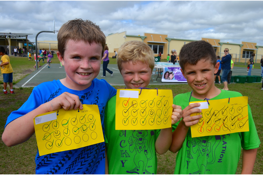 Eight-year-olds Matthew Joseph, Ben Lenton and Will Bellmore ran each lap of the event.