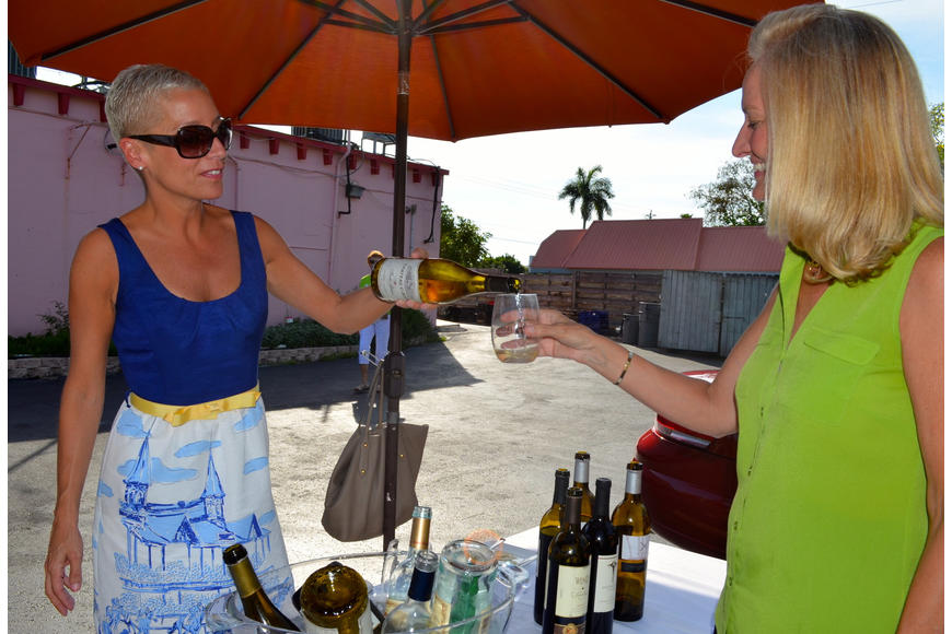 Julie Pepi pours a sample of wine during the tasting.